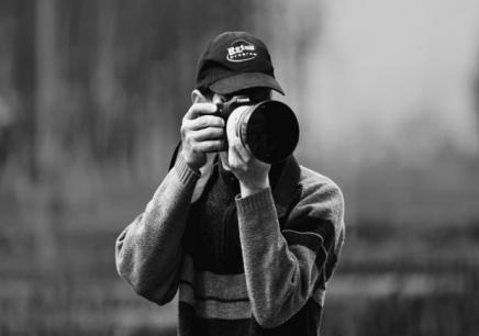 男单反摄影师头像黑白