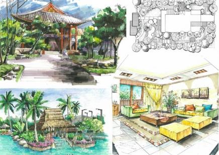南宁学手绘暑假手绘表现班到艺行景观设计手绘表现全科班