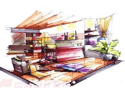单体家具手绘图彩铅