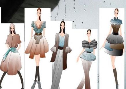教学内容:全面学习服装手绘设计技法: 一:学习服装绘画造型,线条