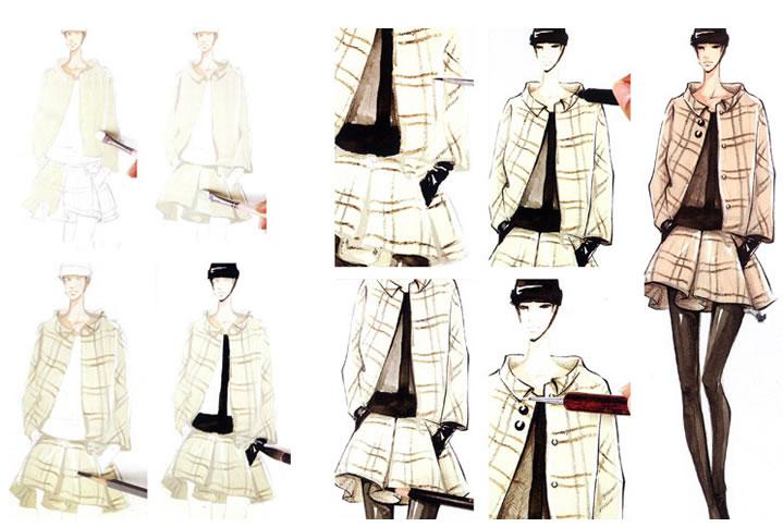 面料以及顾客的爱好,画师在服装上用专门的服装手绘颜料绘画出精美,个图片