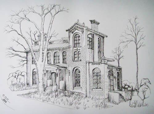 学生校园内速写 (二) 手绘与效果图表现技法 介绍建筑和装饰绘图的