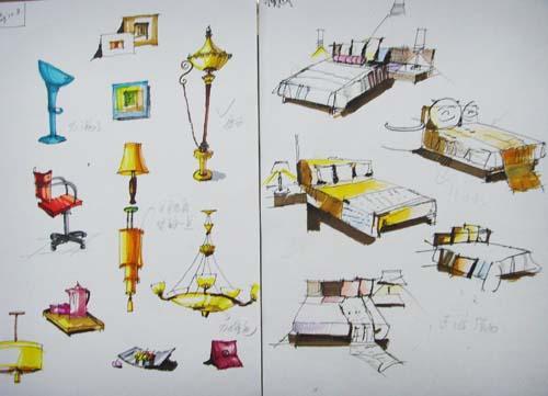 掌握手绘效果图的绘制方法和技巧,熟练运用手绘工具(如彩色铅笔,马克