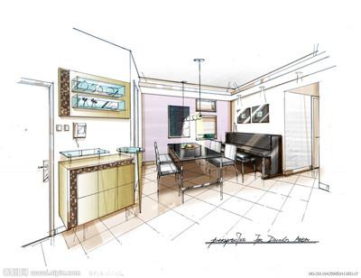 7、室内设计手绘强化:设计表现理论、透视理论;一点透视快速成图图片